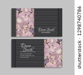 floral business card template... | Shutterstock .eps vector #1298740786