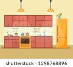 kitchen interior with furniture ... | Shutterstock .eps vector #1298768896