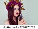 beautiful young woman wearing... | Shutterstock . vector #1298776219