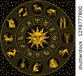 zodiac wheel. astrology... | Shutterstock .eps vector #1298777800