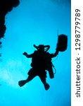 A Silhouette Of A Scuba Diver...