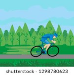 cycling man in training | Shutterstock . vector #1298780623