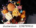 unhealthy products. food bad... | Shutterstock . vector #1298799910