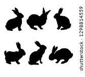 rabbit silhouette   vector... | Shutterstock .eps vector #1298814559