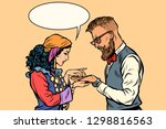 gypsy palmist and hipster. pop... | Shutterstock .eps vector #1298816563