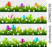 Easter Eggs On Grass With Bunny ...