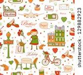 paris travel seamless pattern ... | Shutterstock . vector #129882923