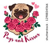 funny pug puppy dog holding a... | Shutterstock .eps vector #1298834566