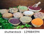 basket of dried beans on a... | Shutterstock . vector #129884594