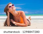 younglong haired girl in bright ... | Shutterstock . vector #1298847280
