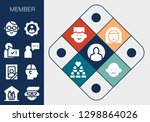 member icon set. 13 filled...   Shutterstock .eps vector #1298864026