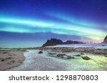 aurora borealis on the lofoten...   Shutterstock . vector #1298870803