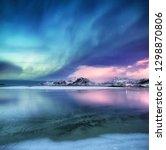 aurora borealis on the lofoten... | Shutterstock . vector #1298870806