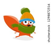 funny cartoon squirrel with hat ... | Shutterstock .eps vector #1298872516