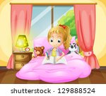 illustration of a girl writing... | Shutterstock . vector #129888524