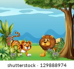 illustration of a lion and a... | Shutterstock . vector #129888974