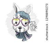 vector white rabbit with hat ... | Shutterstock .eps vector #1298890273