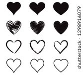 heart hand drawn icons set.... | Shutterstock .eps vector #1298916079