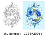 princess mermaid  floating with ... | Shutterstock .eps vector #1298920066