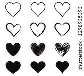 heart hand drawn icons set.... | Shutterstock .eps vector #1298935393