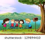 illustration of kids playing... | Shutterstock . vector #129894410