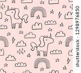 Cute Seamless Unicorn Pattern...