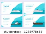 set of yacht  boat  cargo ship  ...
