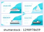 set of yacht  boat  cargo ship  ... | Shutterstock .eps vector #1298978659