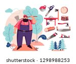 cutting tools and wood... | Shutterstock .eps vector #1298988253