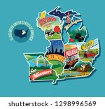 illustrated pictorial map of... | Shutterstock .eps vector #1298996569