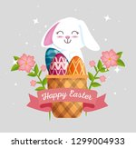 rabbit with eggs decoration... | Shutterstock .eps vector #1299004933