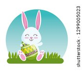 happy rabbit with eggs figures... | Shutterstock .eps vector #1299005023