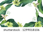 watercolor card tropical leaves ... | Shutterstock . vector #1299018106