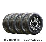 four car wheel rubber with... | Shutterstock . vector #1299023296