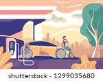 flat eco electric car gas... | Shutterstock .eps vector #1299035680