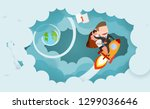 businessman and women riding a... | Shutterstock .eps vector #1299036646
