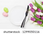 easter greeting card with tulip ...   Shutterstock . vector #1299050116