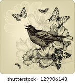 Vintage Background With Birds ...