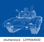 blueprint of realistic tank.... | Shutterstock .eps vector #1299064030