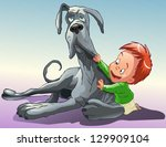 little boy playing with a big... | Shutterstock .eps vector #129909104