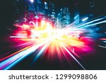 abstract motion blur in city in ... | Shutterstock . vector #1299098806