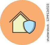 vector protected house icon  | Shutterstock .eps vector #1299126523