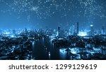 digital network connection... | Shutterstock . vector #1299129619