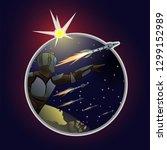 astronaut in spacesuit shows in ... | Shutterstock .eps vector #1299152989