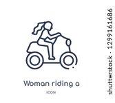 linear woman riding a motorbike ...   Shutterstock .eps vector #1299161686
