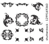 damask vector set of vintage... | Shutterstock .eps vector #1299169360