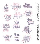 set of valentine's day related... | Shutterstock .eps vector #1299182110