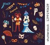 venetian carnival vector... | Shutterstock .eps vector #1299190639