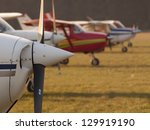 Row Of Planes' Propellers At...