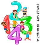 kids playing with big number... | Shutterstock .eps vector #1299194266